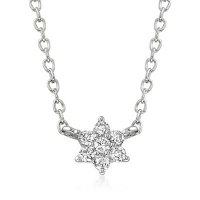 .10 ct. t.w. Diamond Flower Necklace in 14kt White Gold