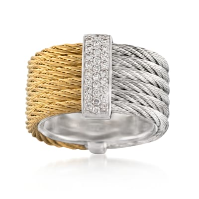 "ALOR ""Classique"" .23 ct. t.w. Diamond Two-Tone Stainless Steel Cable Ring with 18kt White Gold"