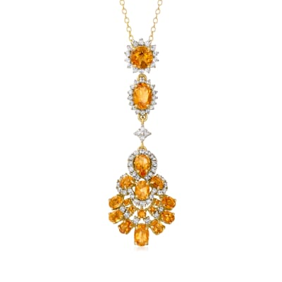 4.35 ct. t.w. Citrine and 1.05 ct. t.w. White Zircon Necklace in 18kt Gold Over Sterling