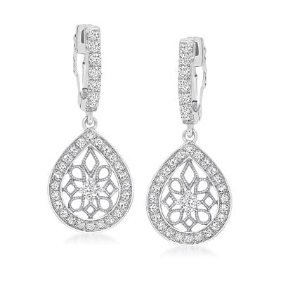 .77 ct. t.w. Diamond Hoop Drop Earrings in 14kt White Gold