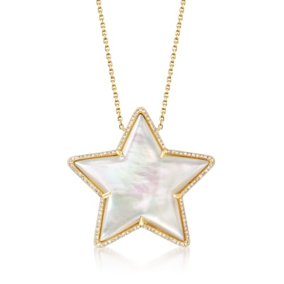 Mother-Of-Pearl and .33 ct. t.w. Diamond Star Necklace in 14kt Yellow Gold