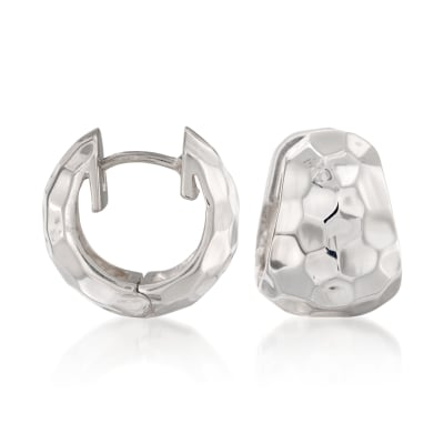 "Zina Sterling Silver ""Sahara"" Hammered Hoop Earrings"
