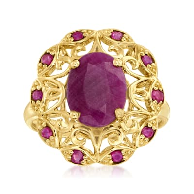 4.80 ct. t.w. Ruby Openwork Ring in 14kt Yellow Gold