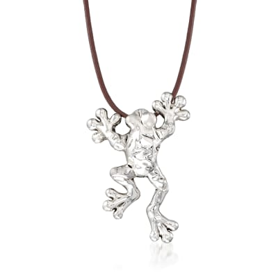 Sterling Silver Over Resin Frog Necklace