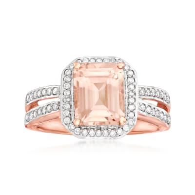 1.70 Carat Morganite and .26 ct. t.w. Diamond Ring in 14kt Rose Gold