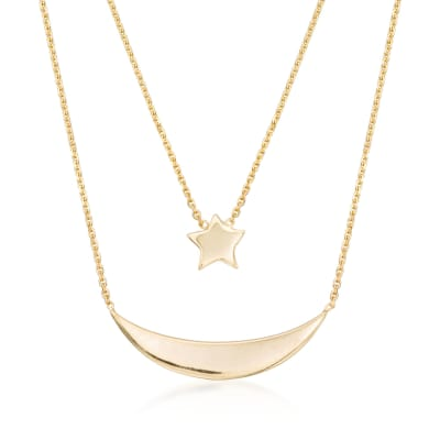14kt Yellow Gold Layered Star and Moon Necklace