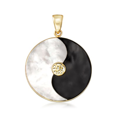Mother-Of-Pearl and Black Agate Yin-Yang Pendant in 14kt Yellow Gold