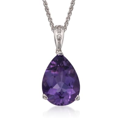 9.00 ct. t.w. Amethyst Pendant Necklace with Diamonds in Sterling Silver
