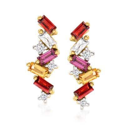 1.57 ct. t.w. Multi-Gemstone Drop Earrings in 18kt Gold Over Sterling