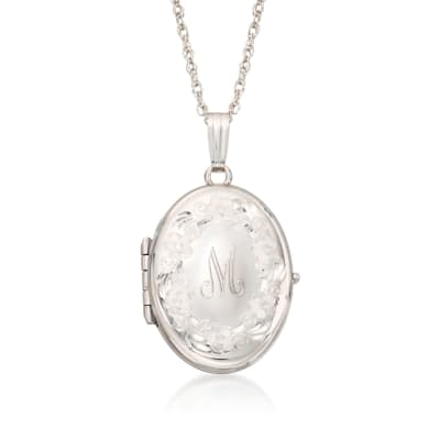 Sterling Silver Engraved Four-Photo Oval Locket Necklace