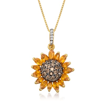 1.70 ct. t.w. Citrine and .90 ct. t.w. Smoky and White Quartz Sunflower Pendant Necklace in 18kt Gold Over Sterling