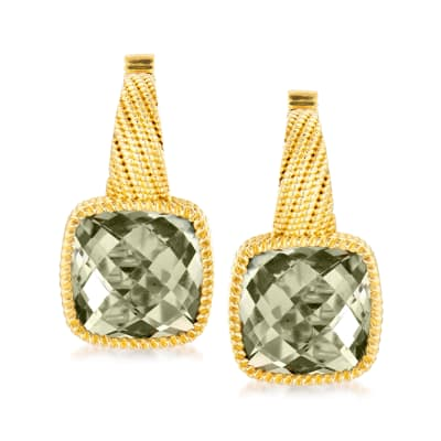 5.75 ct. t.w. Prasiolite Earrings in 18kt Gold Over Sterling