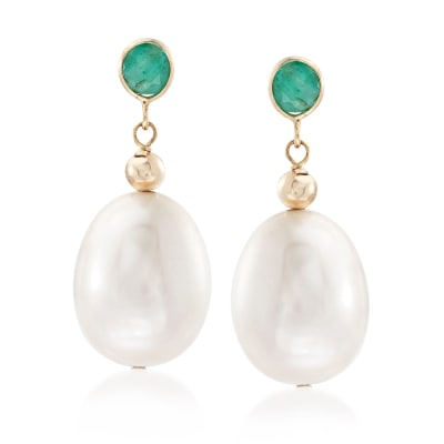 9.5-10.5mm Cultured Pearl and .60 ct. t.w. Emerald Earrings in 14kt Yellow Gold
