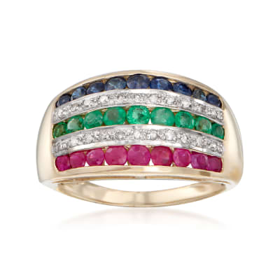 1.20 ct. t.w. Multi-Gemstone and .11 ct. t.w. Diamond Ring in 14kt Yellow Gold