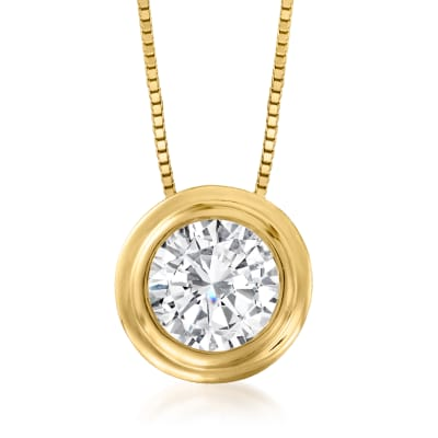 1.00 ct. t.w. Bezel-Set Diamond Solitaire Necklace in 14kt Yellow Gold