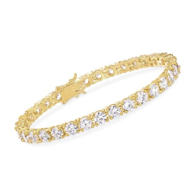 15.00 ct. t.w. CZ Tennis Bracelet in 14kt Gold Over Sterling