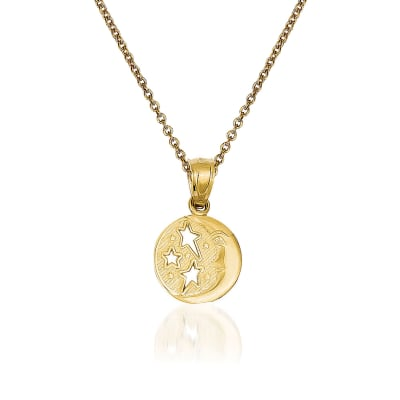 14kt Yellow Gold Moon and Stars Pendant Necklace