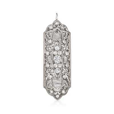 C. 1950 Vintage 1.35 ct. t.w. Diamond Filigree Pin/Pendant in Platinum