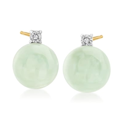 Jade Earrings with Diamond Accents in 18kt Gold Over Sterling