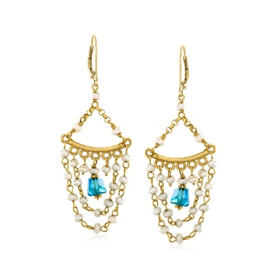 C. 1990 Vintage Cultured Pearl and Blue Tourmaline Chandelier Earrings in 14kt Yellow Gold