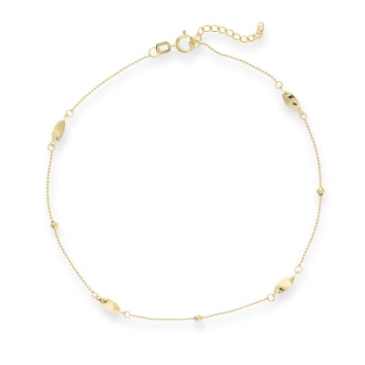 14kt Yellow Gold Marquise Station Anklet