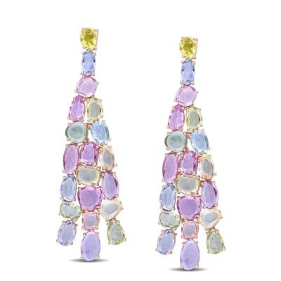 22.00 ct. t.w. Multicolored Sapphire Chandelier Earrings in 14kt Rose Gold