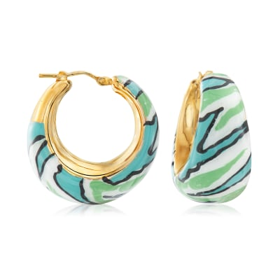Italian Multicolored Enamel Hoop Earrings in 18kt Gold Over Sterling