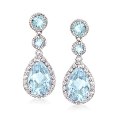 8.00 ct. t.w. Blue Topaz and 1.40 ct. t.w. White Topaz Drop Earrings in Sterling Silver
