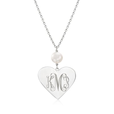 Sterling Silver Monogram Heart Pendant Necklace with 8.5-9mm Cultured Pearl