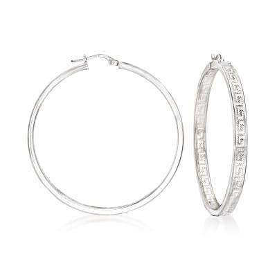 Italian Sterling Silver Inside-Outside Greek Key Hoop Earrings