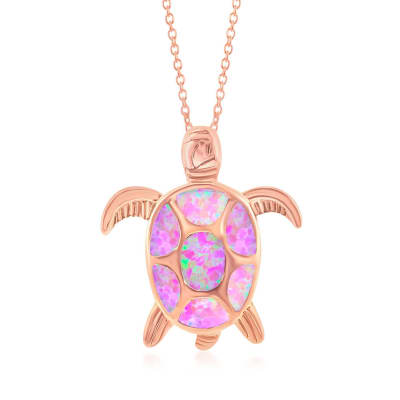 Pink Synthetic Opal Sea Turtle Pendant Necklace in 18kt Rose Gold Over Sterling