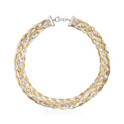 Italian Tri-Colored Sterling Silver Braided Herringbone Collar Necklace