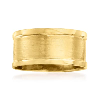 Italian 14kt Yellow Gold Satin and Polished Ring