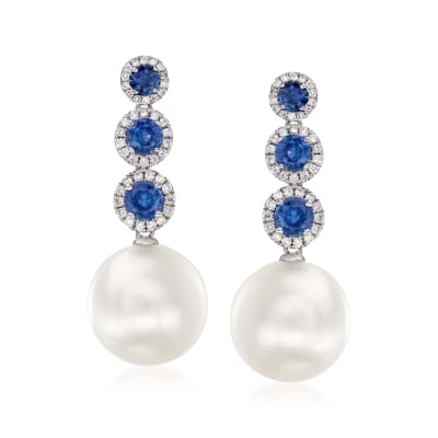 12-13mm Cultured South Sea Pearl and 1.50 ct. t.w. Sapphire Drop Earrings with .36 ct. t.w. Diamonds in 18kt White Gold