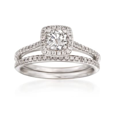 .86 ct. t.w. Diamond Bridal Set: Square Halo Engagement and Wedding Rings in 14kt White Gold