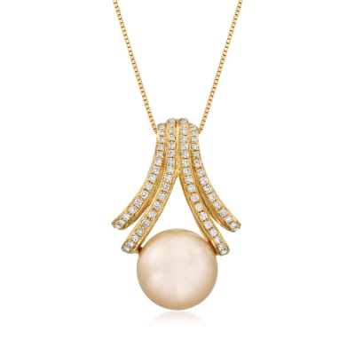 Golden Cultured South Sea Pearl and .39 ct. t.w. Diamond Pendant Necklace in 18kt Yellow Gold