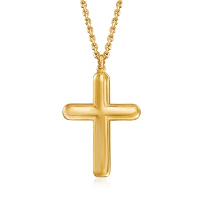 Italian 18kt Gold Over Sterling Cross Necklace