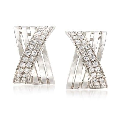 1.15 ct. t.w. Diamond Crisscross Drop Earrings in 14kt White Gold