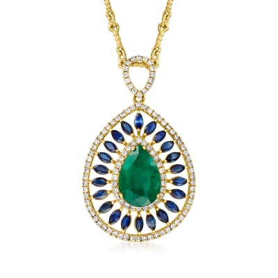 4.50 Carat Emerald, 1.60 ct. t.w. Sapphire and .94 ct. t.w. Diamond Teardrop Pendant Necklace
