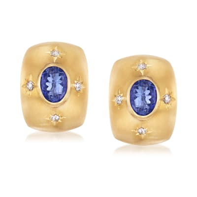 Mazza 4.00 ct. t.w. Tanzanite and .24 ct. t.w. Diamond Earrings in 14kt Yellow Gold