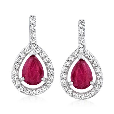 1.90 ct. t.w. Ruby and .50 ct. t.w. Diamond Drop Earrings in 14kt White Gold