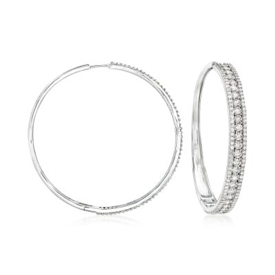 7.00 ct. t.w. Diamond Hoop Earrings in 14kt White Gold