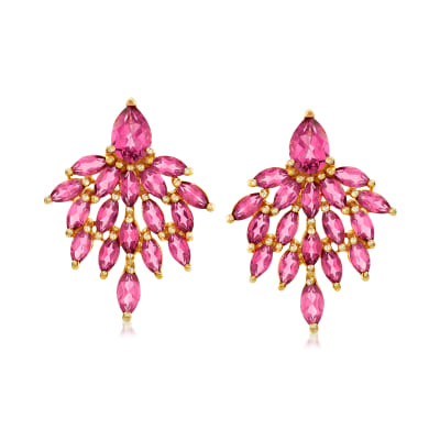 7.10 ct. t.w. Pink Topaz Drop Earrings in 18kt Gold Over Sterling