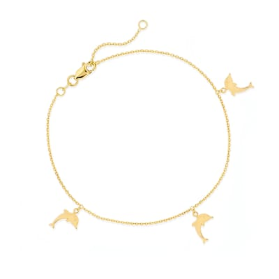 14kt Yellow Gold Dolphin Charm Anklet