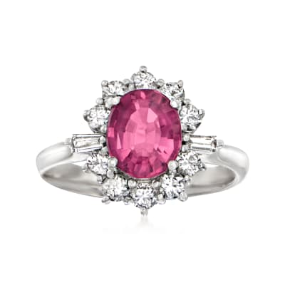 C. 1990 Vintage 1.71 Carat Pink Tourmaline and .65 ct. t.w. Diamond Ring in Platinum