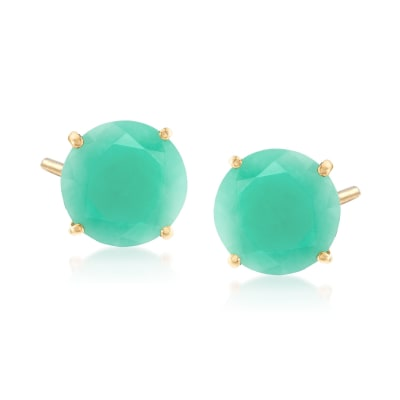 5.00 ct. t.w. Emerald Stud Earrings in 14kt Yellow Gold