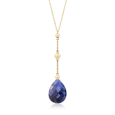 10.00 Carat Sapphire Y-Necklace in 14kt Yellow Gold