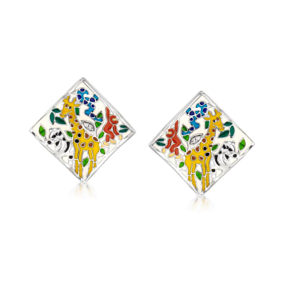 "Belle Etoile ""Serengeti"" Ivory and Multicolored Enamel Earrings with CZ Accents in Sterling Silver"