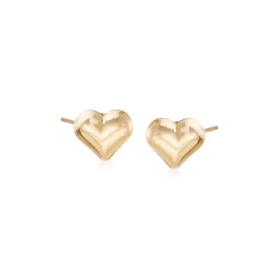 Child's 14kt Yellow Gold Heart Stud Earrings
