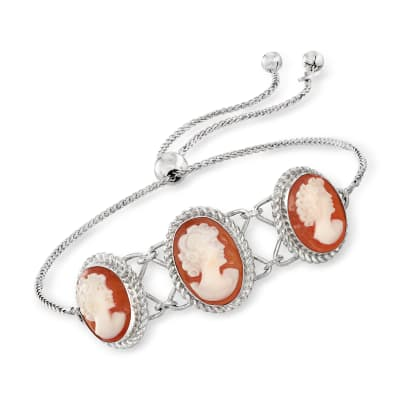 Orange Shell Cameo Bolo Bracelet in Sterling Silver